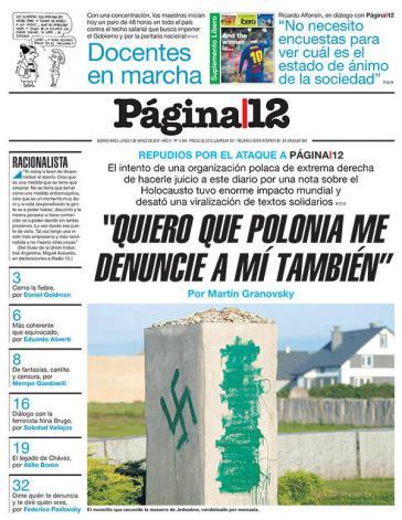 """Página12, """"Polen sollte auch gegen mich Klage erheben"""""""