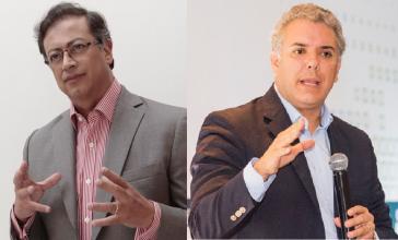Gustavo Petro und Iván Duque: Linker und ultrarechter Präsidentschaftskandidat (Kollage)
