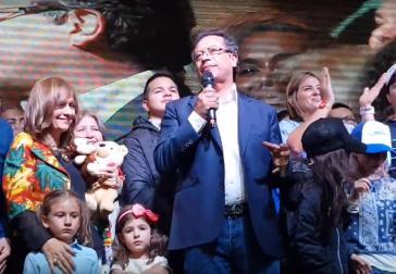 """Gustavo Petro dankte am Wahlabend acht Millionen """"freien und aufrechten"""" Kolumbianern für ihre Stimme (Screenshot)"""