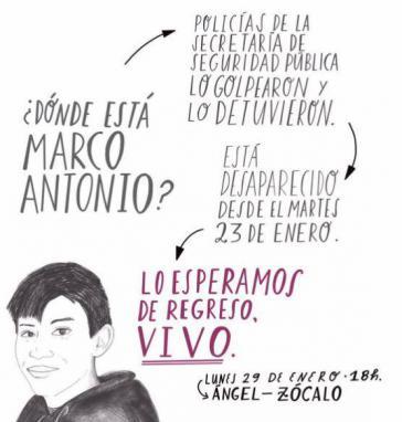 Solidaritätsaktion mit Marco Antonio Sánchez in Mexiko