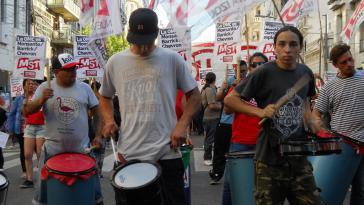 Protest gegen die Konferenz der Welthandelsorganisation in Buenos Aires, Argentinien, im Dezember 2017