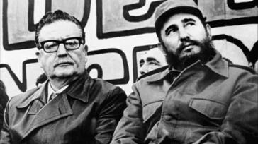 Chiles Präsident Salvador Allende und Kubas Revolutionsführer Fidel Castro