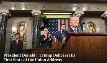 Der Präsident der USA, Donald Trump, bei seiner ersten Rede zur Lage der Nation am 30. Januar 2018 (Screenshot)