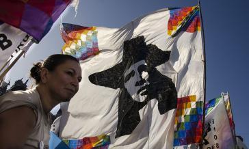 Kundgebung von Tupac Amaru in Jujuy, Argentinien, für die Freilassung von Milagro Sala (Januar 2016)