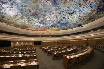 Im Sitzungssaal des Menschenrechtsrats wird nun ohne die USA pleniert