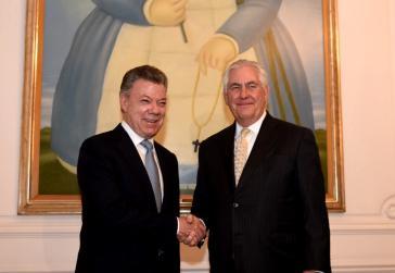 Kolumbiens Präsident Santos und US-Außenminister Tillerson wollen gemeinsam verstärkt gegen Venezuela vorgehen