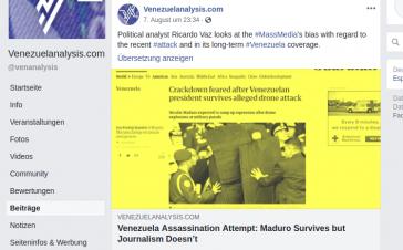 """Bei Venezuelaanalysis: """"Mordversuch in Venezuela: Maduro hat  überlebt, aber der Journalismus nicht"""""""