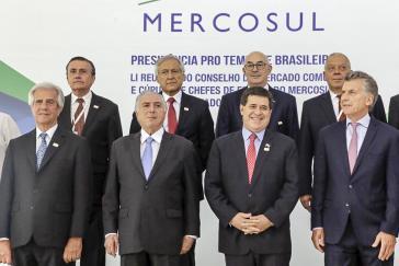 Von links nach rechts: Die Präsidenten Tábare Vázquez (Uruguay), Michel Temer (Brasilien), Horacio Cartes (Paraguay) und Mauricio Macri (Argentinien) beim Mercosur-Gipfel im Dezember 2017