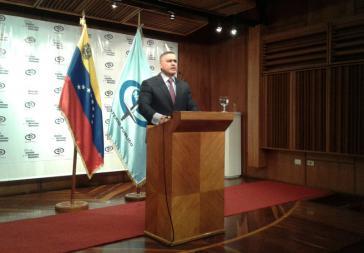 Venezuelas Generalstaatsanwalt Tarek William Saab bei der Pressekonferenz am Dienstag
