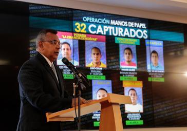 Venezuelas Innenminister Néstor Reverol hat am Montag die neuesten Ergebnisse der Operación Manos de Papel bekanntgegeben