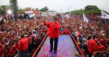 Venezuelas Präsident Nicolás Maduro bei einer Wahlkampfveranstaltung am Dienstag im Bundesstaat Carabobo