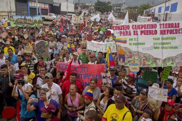 Bei der Demonstration in Táchira forderten Kleinbauernorganisationen mehr Unterstützung der Regierung