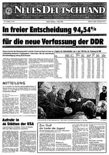 """Titelseite des """"Neuen Deutschland"""" nach der Volksabstimmung in der DDR 1968"""