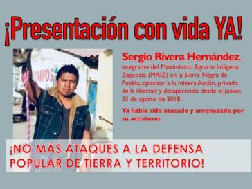 Sergio Rivera Hernández ist im Bundesstaat Puebla seit dem 23. August verschwunden