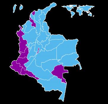 Wahlergebnisse in Kolumbien: In den lila markierten Regionen gewann Gustavo Petro, in den hellblauen Departments Iván Duque