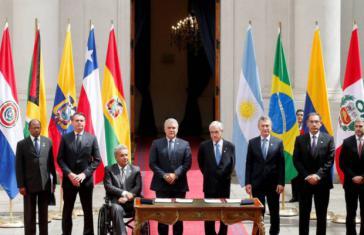 Von Jair Bolsonaro über Iván Duque, Mauricio Macri, Sebastián Piñera bis hin zu Lenín Moreno fanden sich alle Präsidenten der Gründungsstaaten von Prosur in Santiago ein