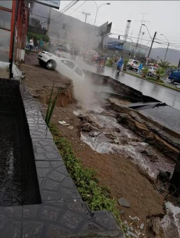 Eingestürzte Straße in Calama