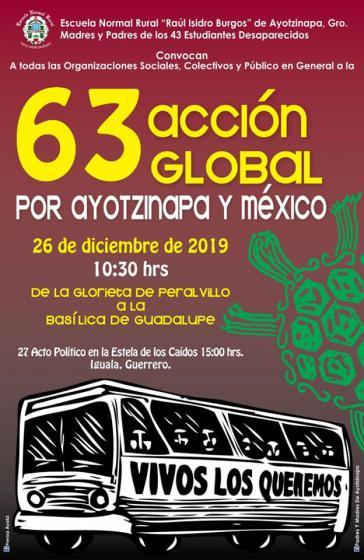 Plakat der Acción Global für Ayotzinapa 2019 in Mexiko