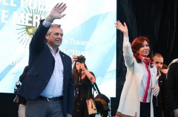 Erster gemeinsamer Auftritt des Kandidatenduos Fernández-Fernández am Samstag in Merlo, Provinz Buenos Aires