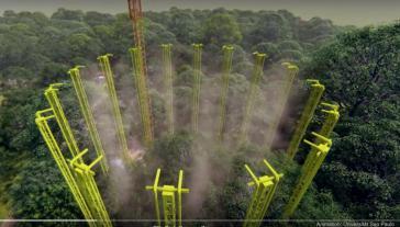"""Eine Vielzahl meterhoher Türme soll die Bäume mit CO2 """"einnebeln"""". Animation: Universität São Paulo. (screenshot)"""