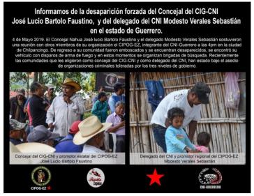 Anzeige von CNI, CIG und EZLN nach der Entführung der Aktivisten José Lucio Bartolo Faustino und Modesto Verales Sebastián