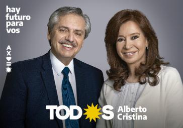 """Wahlplakat des Bündnisses """"Frente de Todos"""". Das Kandidatenduo Fernández/Fernández liegt in der Wählergunst derzeit weit vorn"""