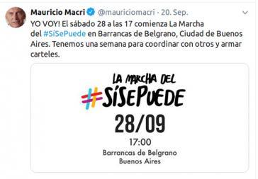 Präsident Macri ruft seine Anhänger für 28. September zu landesweiten Unterstützungsmärschen auf