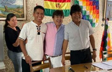 Am vergangenen Wochenende traf Morales in Buenos Aires mit Mas-Vertretern zusammen. Andrónico Rodríguez (links) könnte Kandidat für die Präsidentenwahl werden