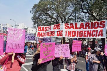 Bei den Protesten ging es auch um die Höhe Mindestlöhne, die in die Armut führen