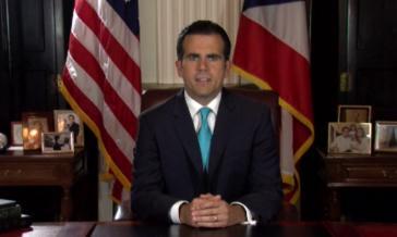 Der Gouverneur von Puerto Rico, Ricardo Rosselló, bei seiner Rücktrittsrede (Screenshot)