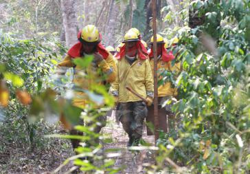 Bolivianische Soldaten im Einsatz gegen das Feuer in der Gemeinde Quitunuquiñia, Santa Cruz