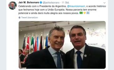 Die Staatschefs von Argentinien, Macri, und Brasilien, Bolsonaro, feiern in Osaka gemeinsam das Freihandelsabkommen mit der EU