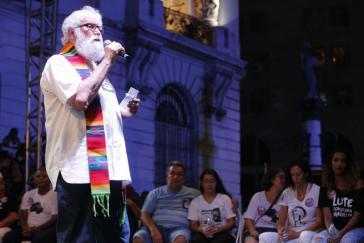 Leonrardo Boff bei einer Gedenkveranstaltung für Marielle Franco und Anderson Pedro Gomes in Rio de Janeiro am 20. März 2018