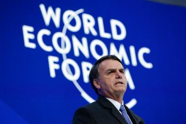 """Brasiliens Präsident im Januar 2019 beim Weltwirtschaftsforum in Davos. Seine Wirtschaftspolitik liegt in den Händen eines """"Chicago Boy"""""""