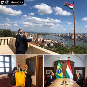 Präsdidentensohn Eduardo Bolsonaro traf auch mit Ungarns Ministerpräsident Victor Orbán zusammen