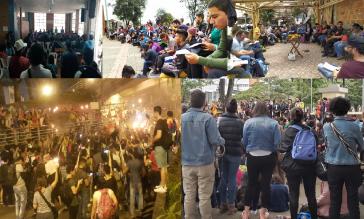 Bürgerversammlungen in Cali (unten Links) und in verschiedenen Stadtvierteln Bogotás
