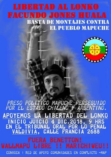 """""""Freiheit für Facundo Jones Huala"""": Aufruf zur Protestkundgebung am Tag der Urteilsverkündung in Chile"""