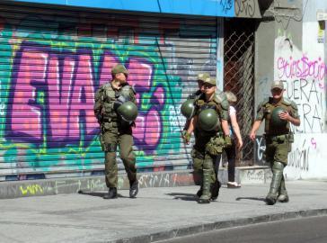 Militärpolizei auf den Straßen von Valparaíso