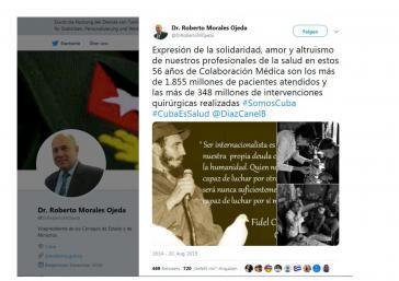 Dr. Roberto Morales Ojeda würdigt die geleistete medizinischen Hilfe Kubas via Twitter