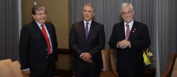 Die Präsidenten von Kolumbien und Chile, Iván Duque und Sebastián Piñera (hier mit dem kolumbianischen Außenminister Holmes Trujillo, links) wollen ein neues Regionalbündnis schaffen - und Unasur ersetzen
