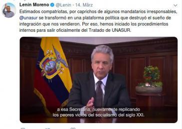 Ecuadors Präsident Moreno bei seiner Fernsehansprache zum Austritt aus der Unasur (Screenshot)