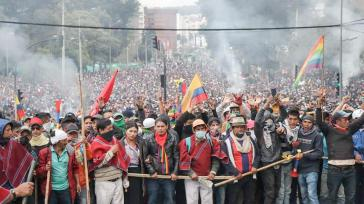 Proteste im Oktober 2019 in der Hauptstadt Quito gegen die neoliberale Politik von Moreno
