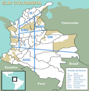 Nach eigenen Angaben ist die ELN in den markierten Gebieten aktiv. In vielen der Regionen waren auch Farc-EP Einheiten aktiv.