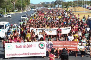 Tagelang protestierten indigene Frauen für ihre Rechte - und auch gegen die Politik Bolsonaros