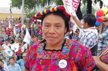"""Die Präsidentschaftskandidatin der """"Bewegung zur Befreiung der Völker"""", Thelma Cabrera"""