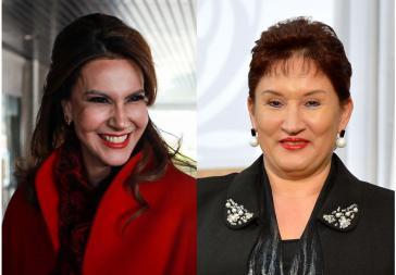 Von den Wahlen ausgeschlossen: Zury Ríos (links im Bild), Tochter des Ex-Diktators Ríos Montt, und die renommierte Juristin Thelma Aldana (Kollage Amerika21)