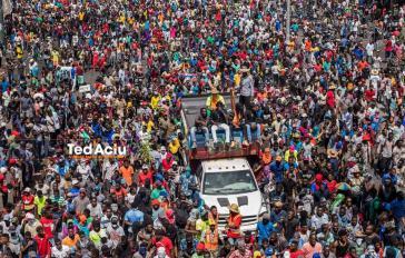 Demonstranten forderten am 11.Oktober in Port-au-Prince erneut den Rücktritt der Regierung Moise