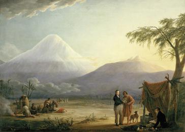 Humboldt und Bonpland am Fuß des Vulkans Chimborazo, Ecuador (Gemälde von Friedrich Georg Weitsch, 1810)