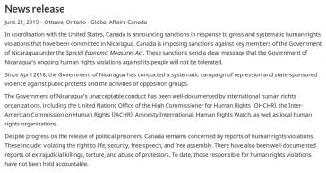 Pressmitteilung des kanadischen Außenministeriums zu den Sanktionen