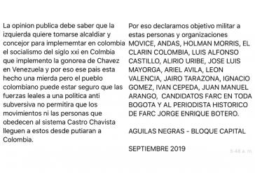 """Per Whatsapp drohen die """"Aguilas Negras-Bloque Capital"""" mehreren Organisationen und Einzelpersonen in Bogotá"""